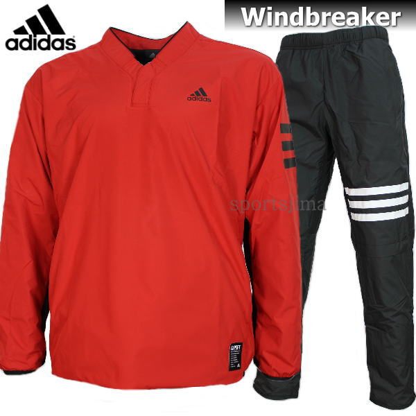 adidas アディダス Baseball 裏起毛 ウィンドブレーカー ジャケット パンツ 上下 DUU68 CD2759 DUU67 CD2761 レッド×ブラック