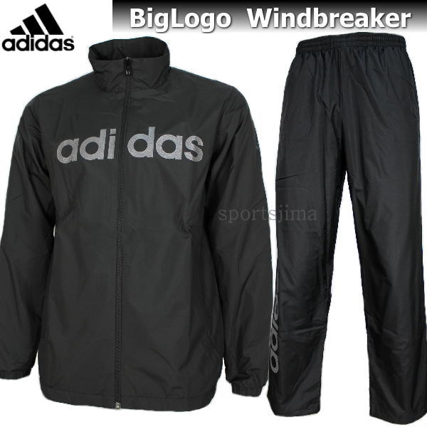 adidas アディダス Big Logo 裏起毛 ウィンドブレーカー ジャケット パンツ 上下 DUV76 CE0202 DUV66 CE0206 ブラック×ブラック