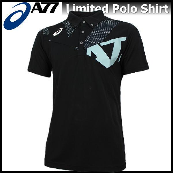 半額以下 ポロシャツ メンズ アシックス asics A77 ボタンダウン ポロシャツ 半袖 限定モデル XA6227 9041 ブラック×ポーセリンブルー 父の日
