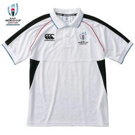 ラグビーワールドカップ2019(TM)日本大会イベントマーク カンタベリー ロゴ配置 公式ライセンス企画 半袖ポロシャツ VWD39112 10 ホワイト