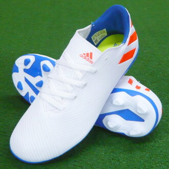 Youth Nemesis Messi 19.4 AI1 J white X red X blue soccer spikes / soccer shoes