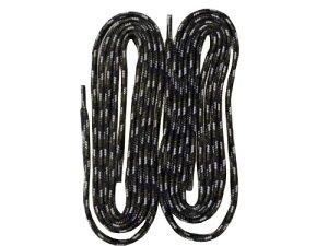 シューレース 靴紐 くつひも 長さ約 140cm 幅約8mm ブラックxグレー スポーツ 交換 おしゃれ 子供 ジュニア キッズ メンズ レディース ユニセックス