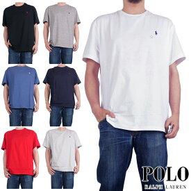 ラルフローレン Tシャツ メンズ レディース 丸首 POLO RALPH LAUREN クルーネック Tシャツ アメリカ USA規格 CREWNECK TEE ワンポイント 無地 プレーンカラー 白 黒 紺
