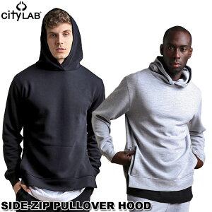 CITYLABシティーラブ/サイドジップスリムフィットプルオーバーパーカーパーカスウェットかぶりフードジップアップ定番ベーシックパーカーブラックSIDE-ZIPPULLOVERHOODBLK(hood001)