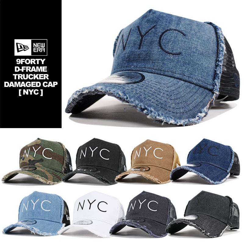 ニューエラ メッシュキャップ メンズ レディース 帽子 NEW ERA スナップバック キャップ トラッカーキャップ ダメージ加工 NYC 刺繍 デニム コットン ビンテージ加工