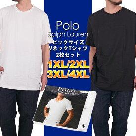 ラルフローレン ビッグサイズ Tシャツ 2枚セット メンズ レディース 大きいサイズ POLO RALPH LAUREN クルーネック tee 丸首 無地 ワンポイント刺繍 XL XXL XXXL 4XL プラスサイズ RY04