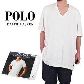 ラルフローレン Vネック Tシャツ メンズ レディース 大きいサイズ 2枚セット POLO RALPH LAUREN ビッグサイズ Vネックtee XL以上 BIG TALL ダンス衣装 ストリート ヒップホップ プラスサイズ 黒 白 RY06