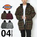 ディッキーズ シャツジャケット メンズ 大きいサイズ フード付き ジャケット Dickies チェック柄 キルティング フランネルシャツ USAモデル ビッグシルエット オーバーサイズ ビッグサイズ