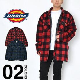 ディッキーズ シャツジャケット メンズ 大きいサイズ 無地 ジャケット Dickies フリース チェック柄 キルティング ライニング USAモデル ビッグシルエット オーバーサイズ ビッグサイズ ワークジャケット 中綿キルティング 防寒 冬 TJ202