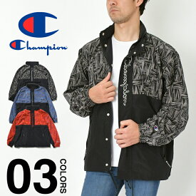 チャンピオン ナイロンジャケット メンズ レディース CHAMPION C3-R606 大きいサイズ フルジップジャケット パーカー フード 撥水加工 ダンス 衣装 ファッション ブランド スポーツ ブラック 黒 レッド 赤 ブルー 青 M L XL