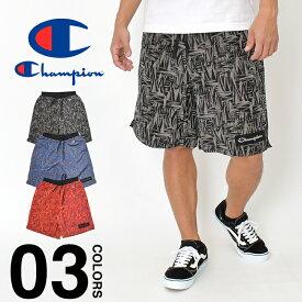 チャンピオン ハーフパンツ Champion メンズ レディース アクションスタイル ショーツ ショートパンツ ナイロンショーツ 春夏 短パン 大きいサイズ ビッグサイズ 総柄 ブランド ファッション ブラック レッド ブルー C3-R502