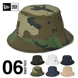ニューエラ ハット バケットハット メンズ レディース NEW ERA BUCKET HAT 帽子 大きいサイズ ブランド アウトドア フェス 登山 コットン おしゃれ ミリタリーハット 迷彩 ユニセックス ブラック ホワイト 黒 白 デニム