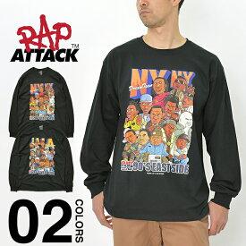 ラップアタック Tシャツ ロンT RAP ATTACK L/S Tee NY LA メンズ レディース 長袖Tシャツ ニューヨーク ロサンゼルス 東海岸 西海岸 ラップTシャツ ヒップホップ HIPHOP ラッパー 90年代 ブランド ダンス ストリート コラボ ブラック 黒