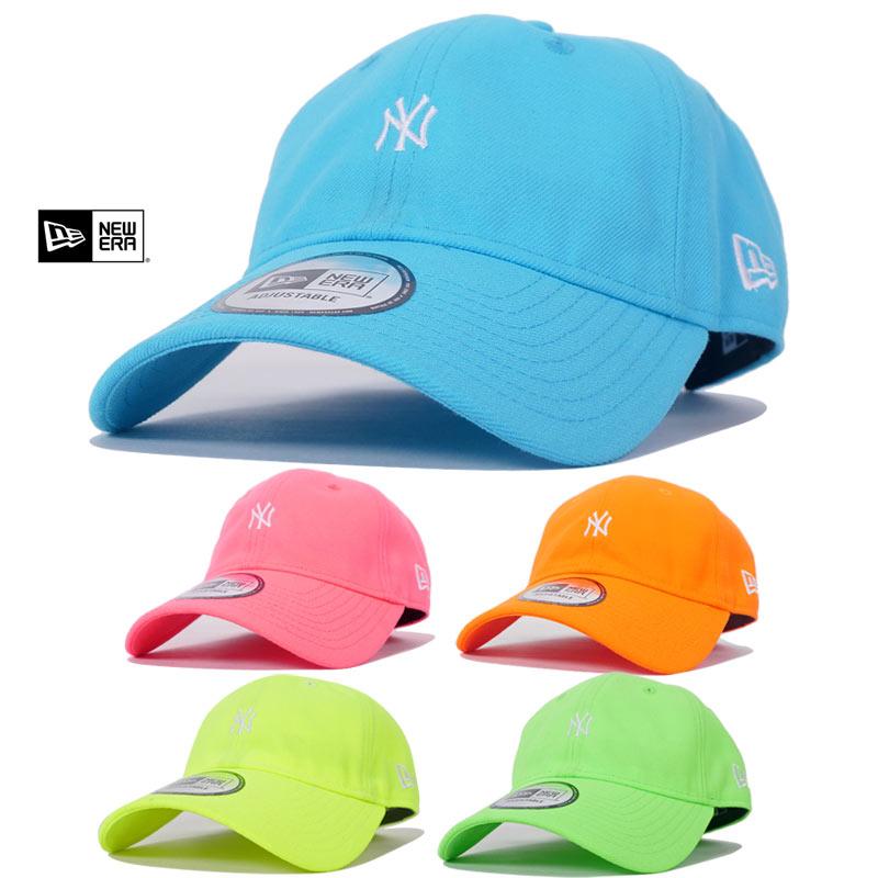 ニューエラ ローキャップ メンズ レディース 帽子 NEW ERA ネオンカラー ミニロゴ ニューヨークヤンキース 蛍光色 熱中症予防 ストラップバックキャップ 夏小物