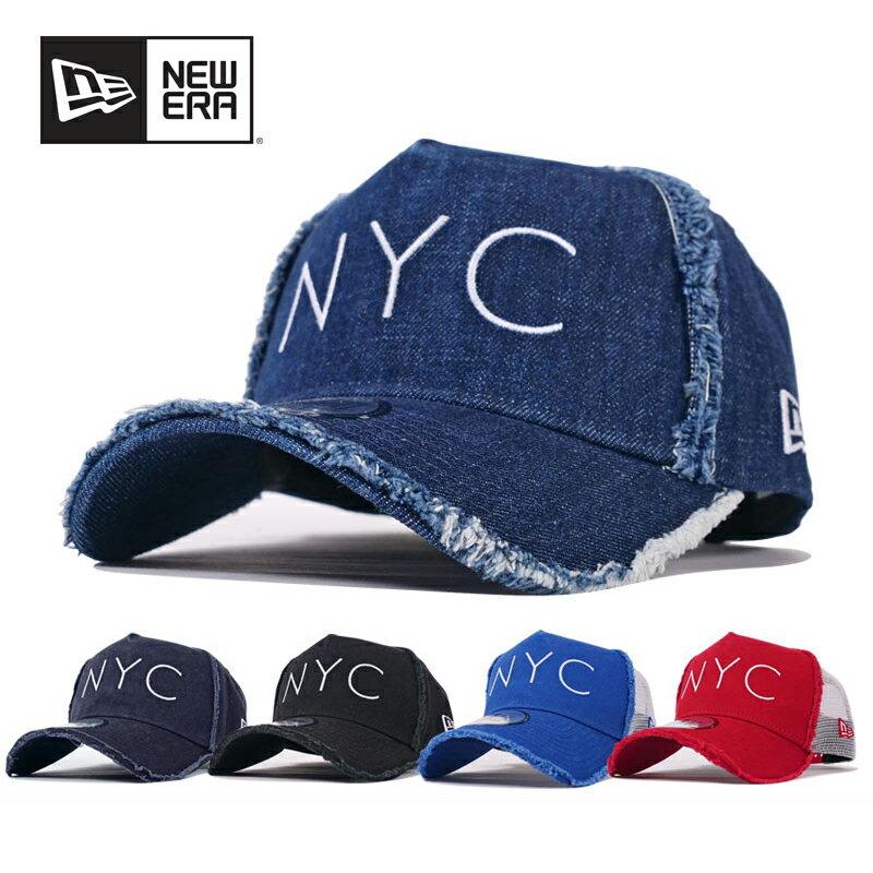 ニューエラ メッシュキャップ メンズ レディース 帽子 NEW ERA CAP ダメージ加工 ビンテージ加工 NYC刺繍 トラッカーキャップ ファッション小物 メンズキャップ レディースキャップ ダンス衣装 デニム ブラック レッド インディゴ