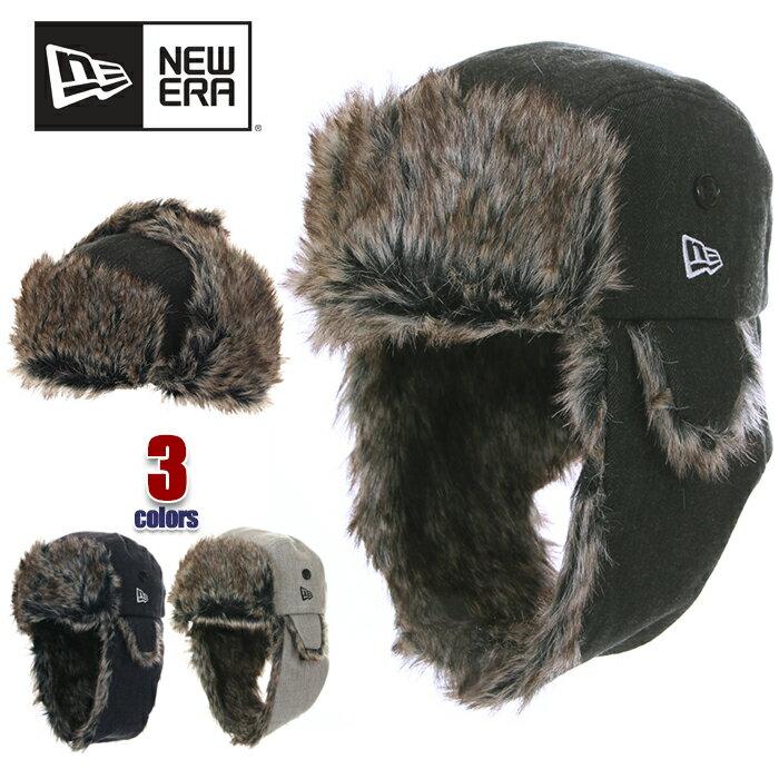 ニューエラ フライトキャップ メンズ NEW ERA トラッパー パイロットキャップ ロシア帽 ファー付 帽子 キャップ 防寒 ドッグイヤー ブランド ファッション 黒 紺 ブラック ネイビー グレー