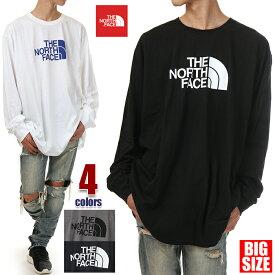 ノースフェイス Tシャツ 長袖 メンズ 大きいサイズ THE NORTH FACE ビッグロゴ ロゴ Tシャツ 長袖Tシャツ ロンT ビッグTシャツ ビッグシルエット 特大 USA ブランド ファッション 3XL 白 グレー 紺