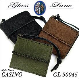 あす楽 Glass Lane グラスレーン GL50045 二つ折り財布 牛革 シボ加工 STYLE CASINO メンズ 財布