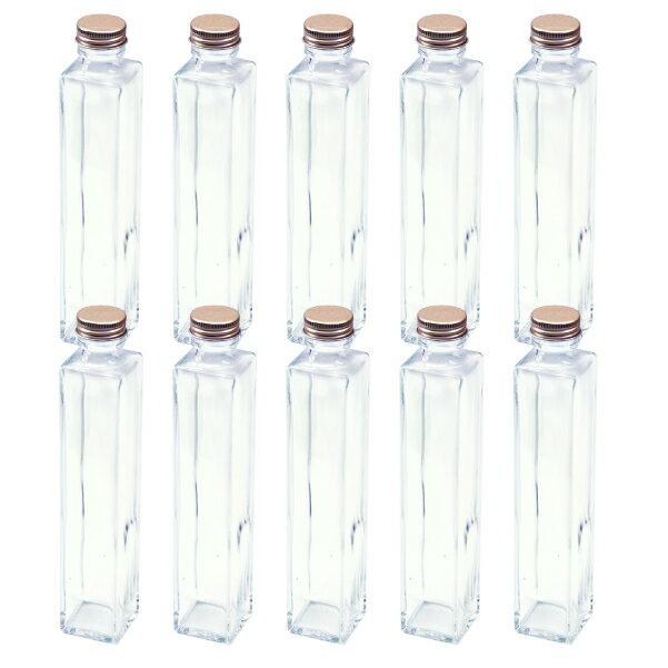あす楽 ハーバリウム 四角柱ガラス瓶 200cc 10本セット キャップ付 硝子ビン 透明瓶 花材 アロマディフューザー ウエディング プリザーブドフラワー インスタ SNS インテリア 植物標本 ボトルフラワー 花の観賞