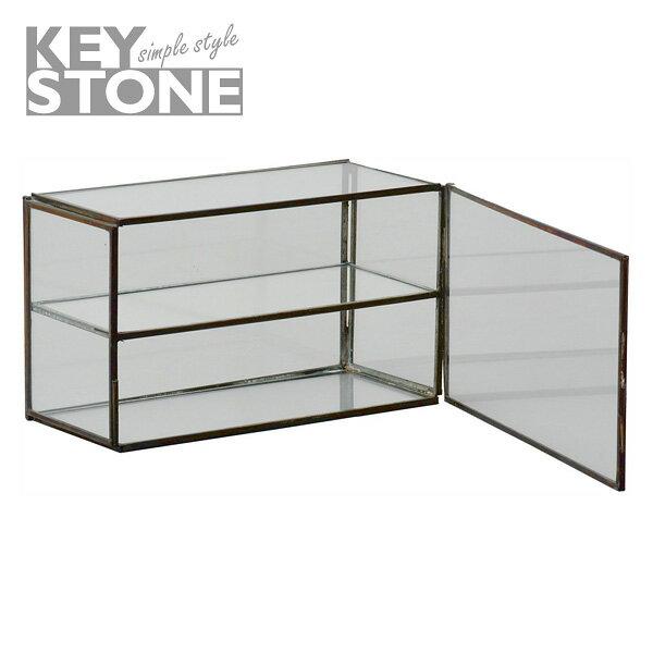 あす楽 キーストーン ガラスコレクションケース ワイド ブラス GLCOWIBR ガラス アンティーク アクセサリーケース コレクションケース インテリア KEYSTONE