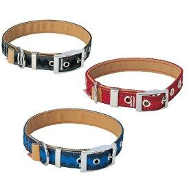 ペティオ ロンバスカラー M グレー・レッド・ブルー 中型犬 首輪 犬用 BASIC PLUS (ベーシックプラス)