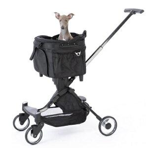 【送料無料】 ピッコロカーネ 対面式 ペットストローラ ELMO II [耐荷重量] 8kg ブラック 小型犬用 3WAY ペットカート エルモツー スリム コンパクト 折りたたみ 【キャリーカート ペットバギー