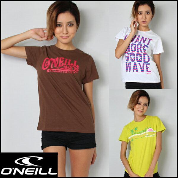 【レディース Tシャツ】O'NEILL(オニール)レディースティシャツ/ホワイト・ブラウン・ライム【送料無料】※沖縄・離島等を除く【人気ブランド激安セール】