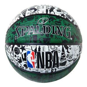 84-302J グラフィティラバー グリーン 5号球 NBAロゴ入り  正規品 SPALDING スポルディング バスケットボール バスケ NBA 屋外 外用 屋内 室内