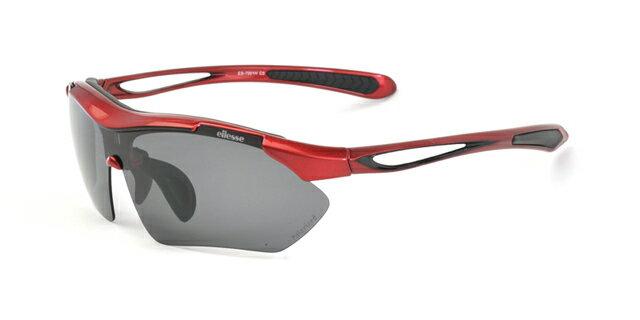 エレッセ スポーツサングラス ES-7001H レッドブラック 赤 黒 メンズ 男性用 5種類の高性能レンズ付属 偏光スモーク 偏光ブラウン 偏光ライトスモーク ダークレッドリボミラー クリアー