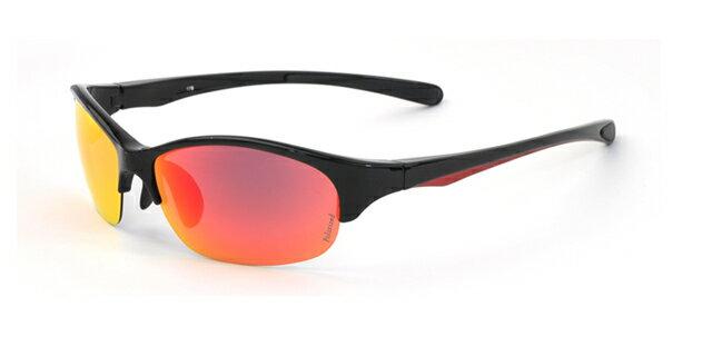 エレッセ スポーツサングラス ES-S205R ブラックレッド ダークレッドリボミラーレンズ 偏光サングラス 黒 赤 メンズ 男性用