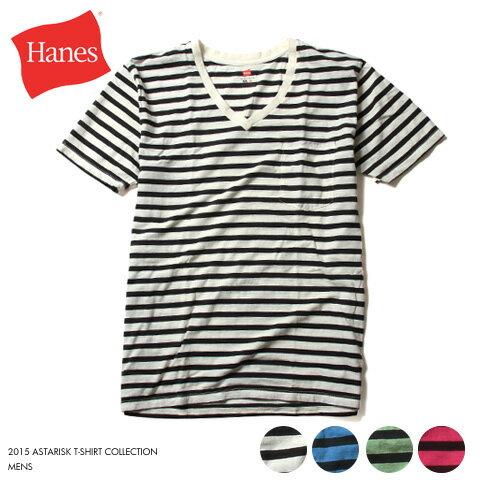 【Tシャツ メンズ】HANES SPORTSWEAR ヘインズ 日本製 1枚入り アメリカ綿 Vネック ボーダー 半袖 ポケット Tシャツ 男性 紳士