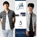 シャツ メンズ 先染め パナマ マルチパターン 7分袖/半袖 シャツ Buyer's Select バイヤーズセレクト