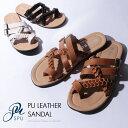 サンダル メンズ PUレザー クロス 編み込み サンダル ビーチ 海 西海岸 お洒落 夏Buyer's Select バイヤーズセレクト