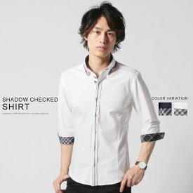 メンズシャツ 春夏 メンズ シャツ 春 夏 綿100% シャドーチェック フロントアクセント 襟デザイン 7分袖 Buyer's Select バイヤーズセレクト M L XL