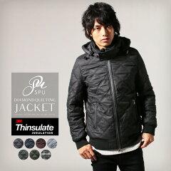 シンサレート高機能中綿素材ダイヤキルティング取り外し可能フード付きジャケット