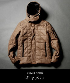 キルティング ジャケット メンズ 中綿ジャケット 中綿 新作 ボリュームネック アウター 脱着フード 冬 防寒 WET-PU レザー M L