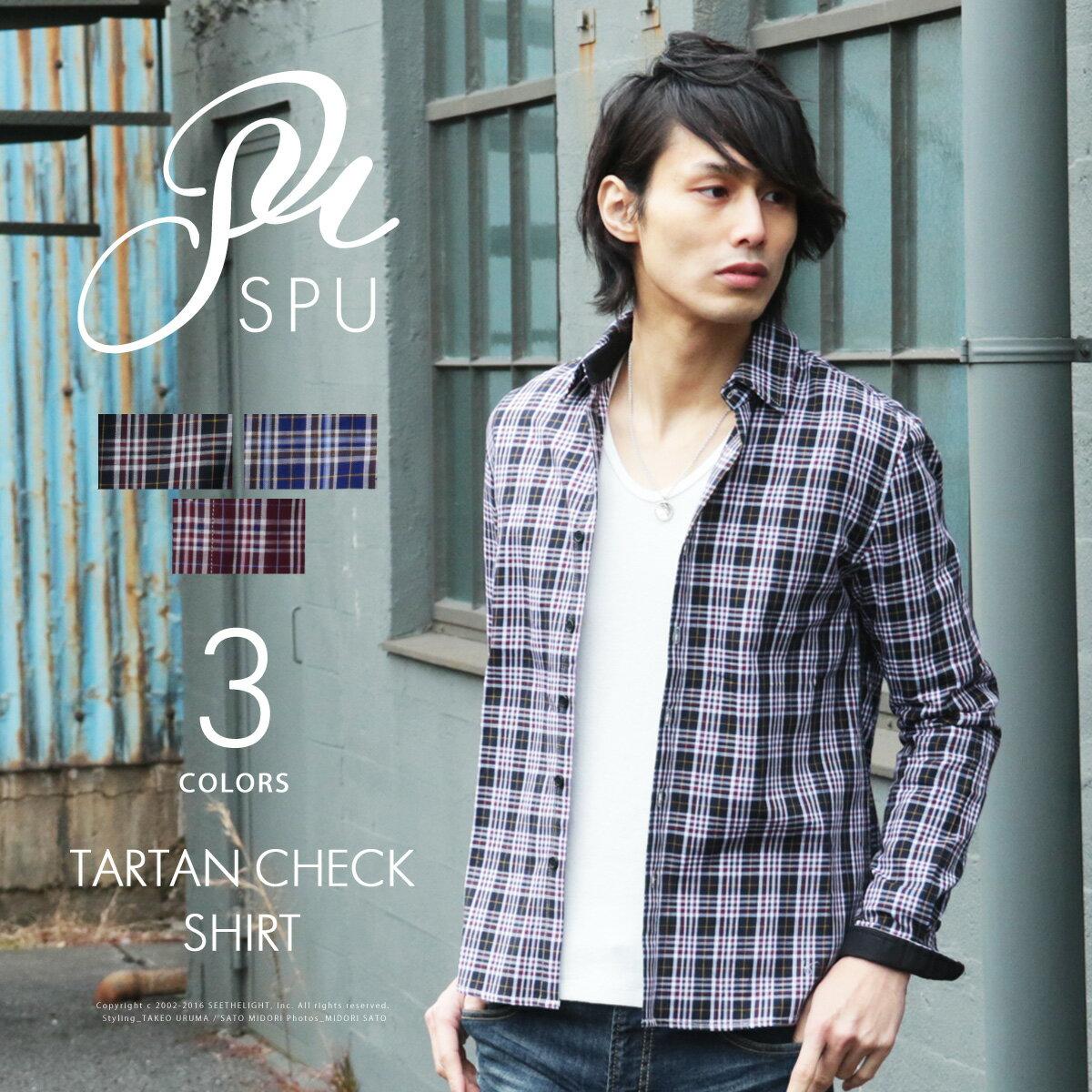 メンズ シャツ 春 メンズファッション オリジナル タータンチェック 長袖 シャツ SPU スプ スプートニクス