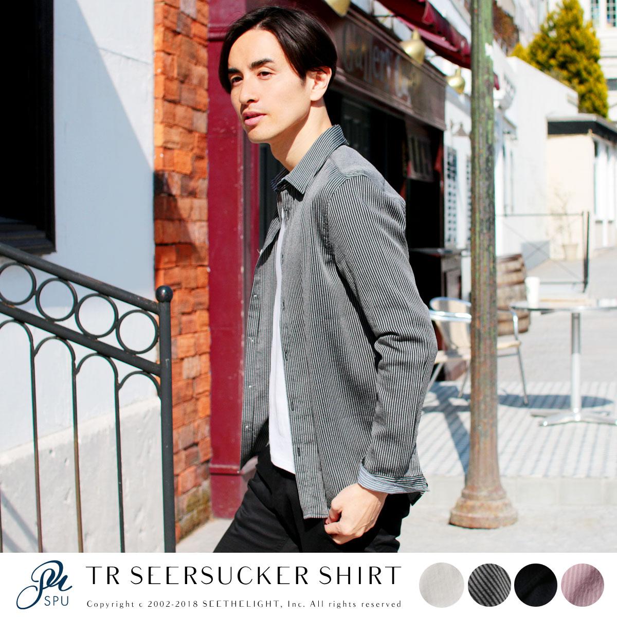 メンズ カジュアルシャツ メンズファッション SPUオリジナルシャツシリーズ TR シアサッカー 長袖 シャツ SPU スプ