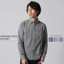 シャツ メンズ 春 秋 冬 M L XL 綿100% 日本製 ボタンダウン ブロードクロス ギンガムチェック 長袖 シャツ SPU スプ