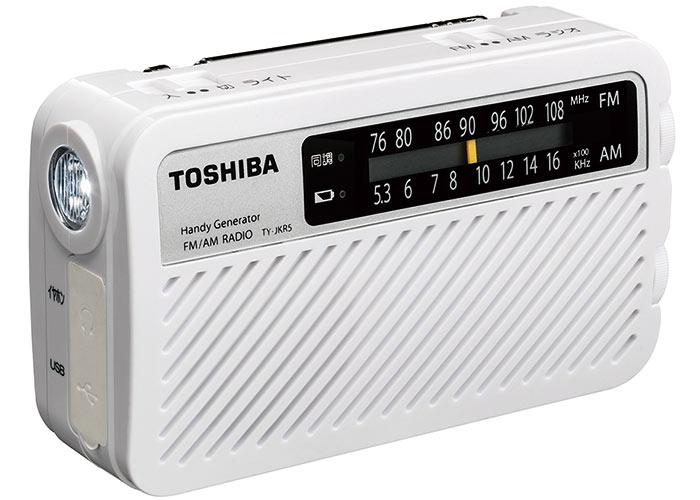 在庫限り即納東芝(TOSHIBA)FM/AM充電ラジオ TY-JKR5(W) 4560158872882 長期保管に対応!手回し充電ラジオ