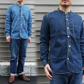 BARNS バーンズ デニムノーカラーシャツ メンズ デニムシャツ シャツ ワークシャツ インディゴ シャツ ヴィンテージ BARNS outfitters アメカジ Mサイズ Lサイズ かわいい おすすめ 人気 服 世田谷ベース