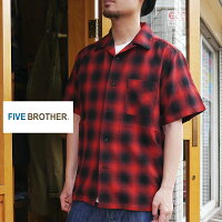 FIVEBROTHERオンブレーネルシャツ半袖オープンカラーシャツオンブレチェックシャツ半袖シャツレッド赤ライトフランネルシャツ152104かわいい人気服世田谷ベース