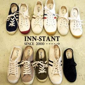INN-STANT スニーカー レディース スニーカー メンズ インスタント ローカットスニーカー ローテク 人気 おすすめ かわいい キャンバス シューズ キャンパス ヨーロッパ 白 ホワイト 黒 レトロ ファッション バルカナイズド 製法 帆布 靴