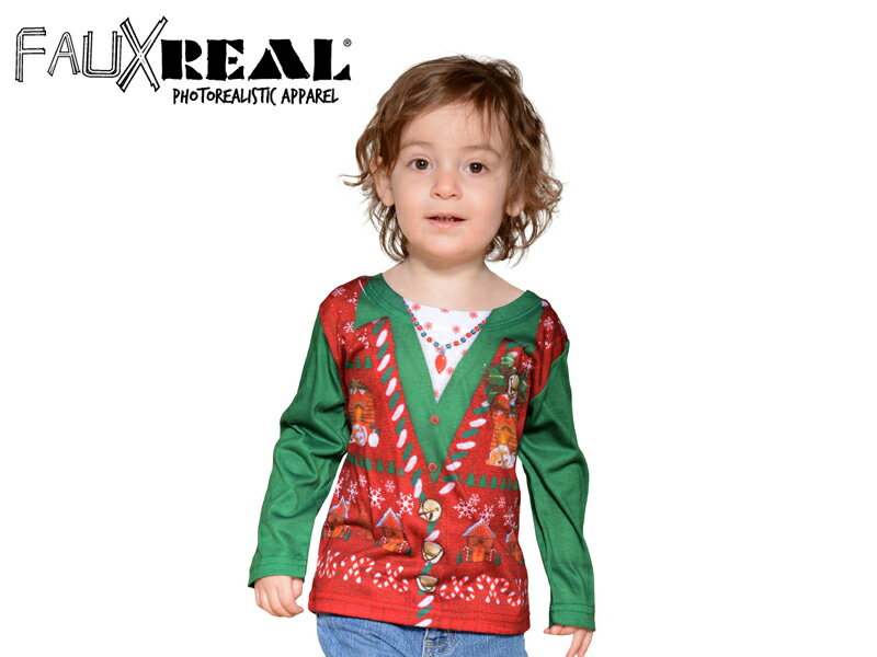 ☆Faux Real【フォーリアル】KIDS TODDLER UGLY CHRISTMAS VEST T-SHIRTS キッズ アグリークリスマス ベスト 長袖Tシャツ 14091 [クリスマス サンタ サンタクロース 仮装 コスプレ 爆笑 面白 誕生日 ギフト]10P26Mar16