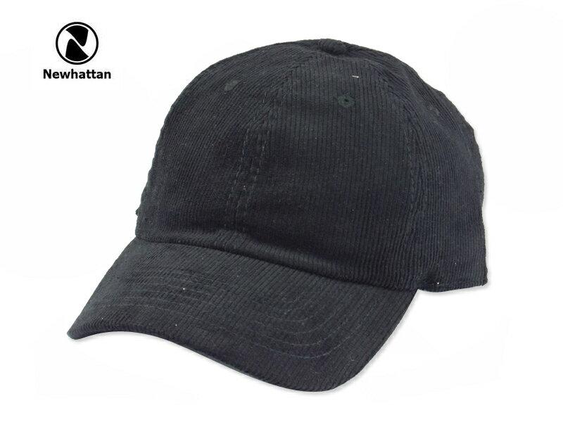 ☆NEWHATTAN【ニューハッタン】CORDUROY CAP BLACK コーディロイ キャップ ブラック 15164 [2016 無地 シンプル メンズ レディース] 10P01Mar15