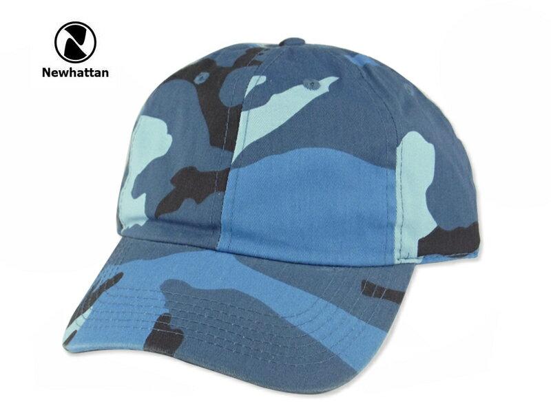 ☆NEWHATTAN【ニューハッタン】COTTON STONE WASHED CAP BLUE CAMO コットン ウォッシュド キャップ ブルーカモ 13382 [2016 無地 シンプル メンズ レディース] P25Apr15