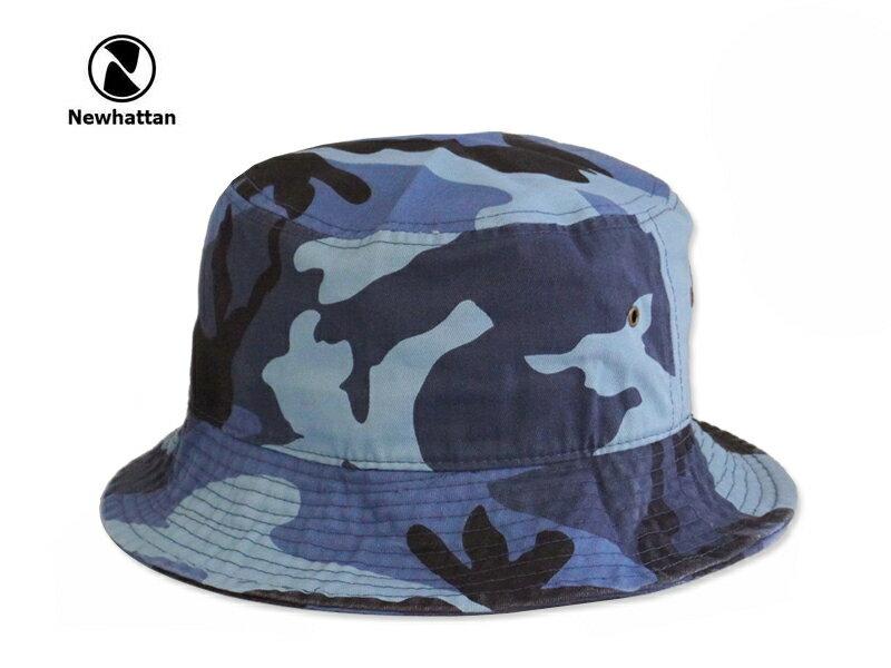 ☆NEWHATTAN【ニューハッタン】COTTON STONE WASHED BUCKET HATS BLUESKY CAMO コットン ウォッシュド バケットハット ブルースカイ カモ 12491 P25Apr15