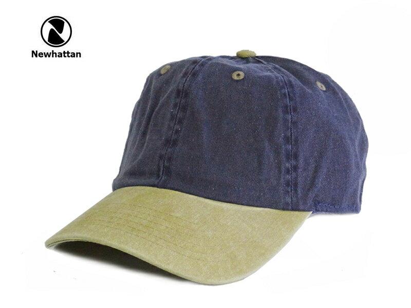 ☆NEWHATTAN【ニューハッタン】COTTON PIGMENT DYDE CAP BLUE/KHAKI コットン ピグメント キャップ ブルー/カーキ 13511 [2015 無地 シンプル メンズ レディース] 10P01Mar15