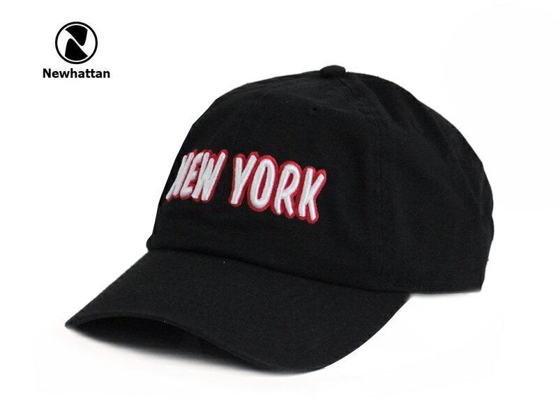 ☆NEWHATTAN【ニューハッタン】COTTON STONE WASH- NEWYORK LOGO BLACK コットン ストーンウォッシュド キャップ ブラック 13512 P25Apr15