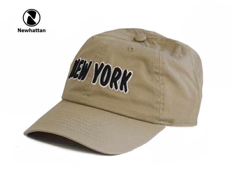 ☆NEWHATTAN【ニューハッタン】COTTON STONE WASH- NEWYORK LOGO KHAKI コットン ストーンウォッシュド キャップ カーキ 13512 [2015 メンズ レディース] P25Apr15